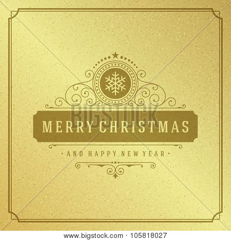 Merry Christmas Typography Greeting Card Design