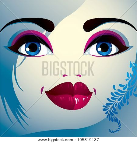 Parts Of The Face Of A Young Beautiful Lady With A Bright Make-up, Lips, Eyes And Eyebrows. People F