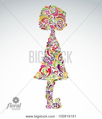 Creative Illustration Of Girl With A Short Hair. Cute Teenage Girl Wearing Flower-patterned Dress