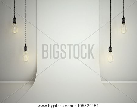 Blank Folded White Wall. Template Mock Up3D Illustraton For Adding Your Design.