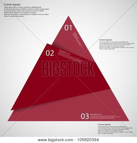 Infographic Template Of Triangle Cut To Three Red Parts