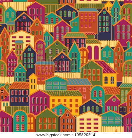 Colorful Seamless Town Background.