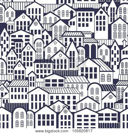 Vector Seamless Town Pattern. Wallpaper with old Architecture.