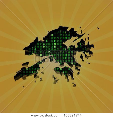Hong Kong sunburst map with hex code illustration