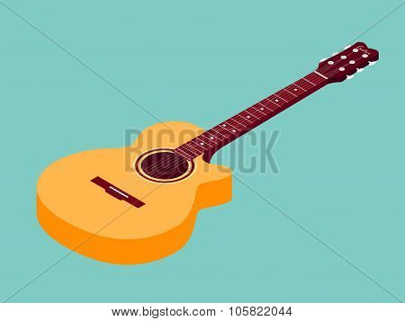 Isometric classical acoustic guitar icon