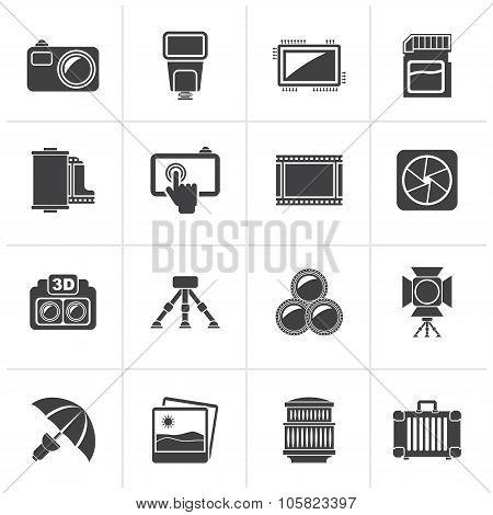 Black Photography equipment icons