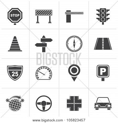 Black Road and Traffic Icons