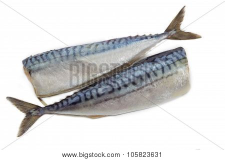 Two Carcass Salted Atlantic Mackerel On A Light Background