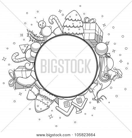 Vector colorless christmas greeting card