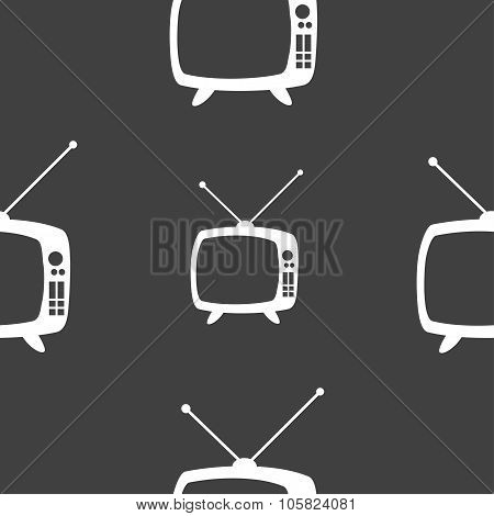Retro Tv Mode Sign Icon. Television Set Symbol. Seamless Pattern On A Gray Background. Vector