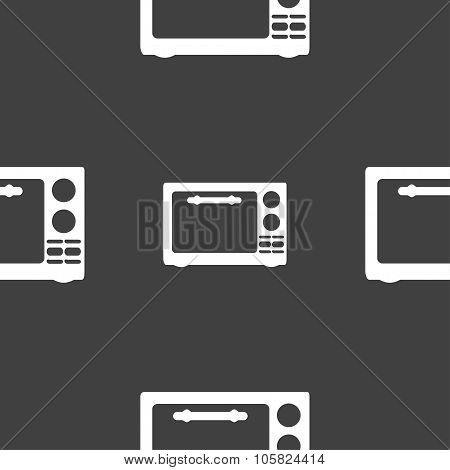 Microwave Oven Sign Icon. Kitchen Electric Stove Symbol. Seamless Pattern On A Gray Background. Vect