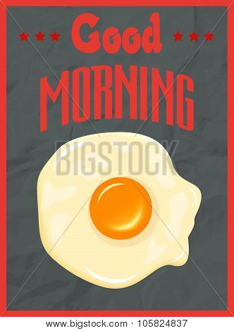 Good Morning Poster Concept With Fried Egg