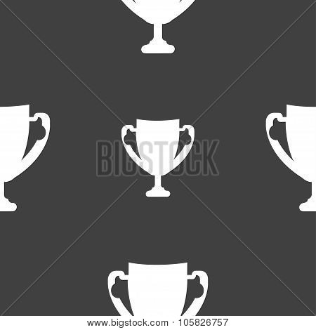 Winner Cup Sign Icon. Awarding Of Winners Symbol. Trophy. Seamless Pattern On A Gray Background. Vec