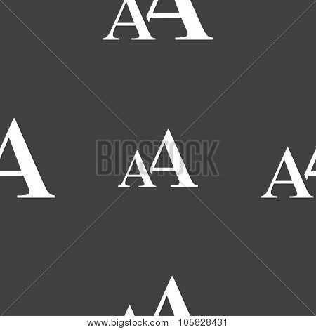 Enlarge Font, Aa Icon Sign. Seamless Pattern On A Gray Background. Vector