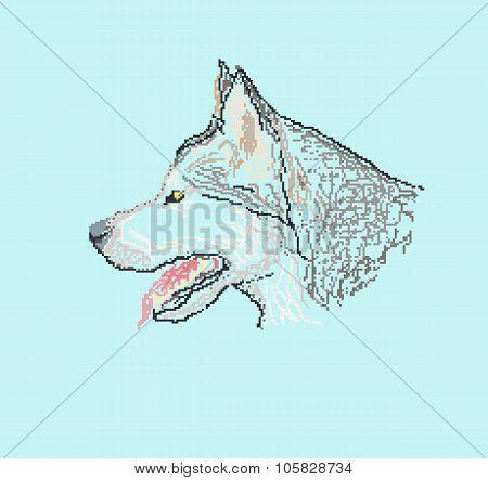 dog husky head, pixel art style