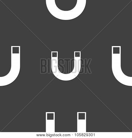 Magnet Sign Icon. Horseshoe It Symbol. Repair Sig. Seamless Pattern On A Gray Background. Vector