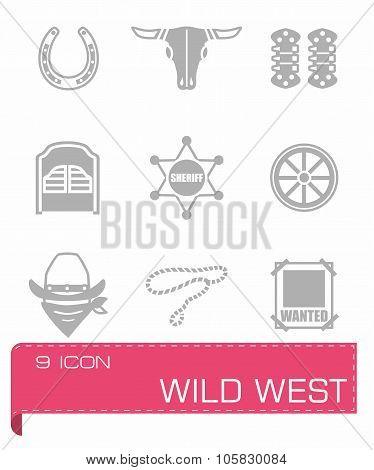Vector Wild West icon set