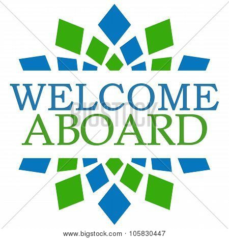 Welcome Aboard Blue Green Square