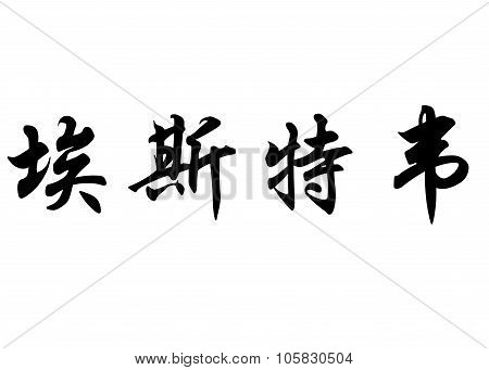 English Name Esteve In Chinese Calligraphy Characters