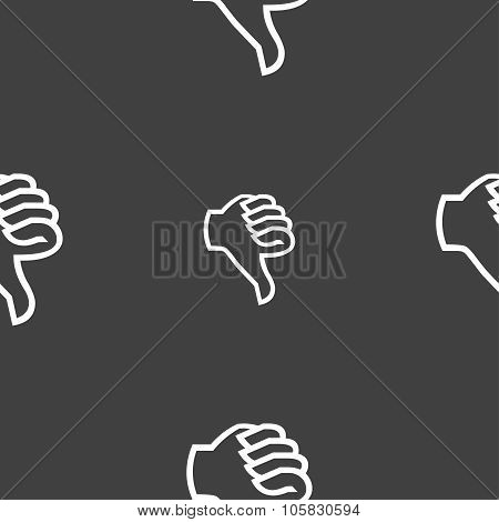 Dislike Sign Icon. Thumb Down. Hand Finger Down Symbol. Seamless Pattern On A Gray Background. Vecto