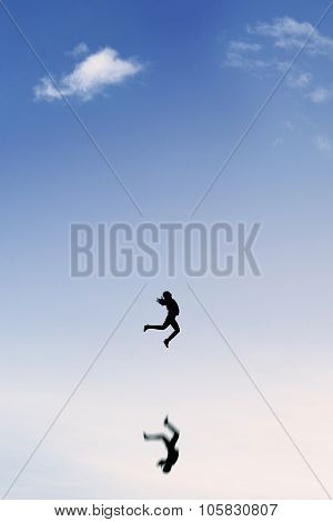 Joyful Businesswoman Leaps On The Clear Sky