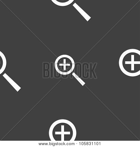 Magnifier Glass, Zoom Tool Icon Sign. Seamless Pattern On A Gray Background. Vector