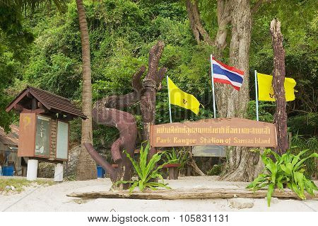 Exterior of the Park ranger station board at Samsao island in Mu Ko Ang Thong National park.