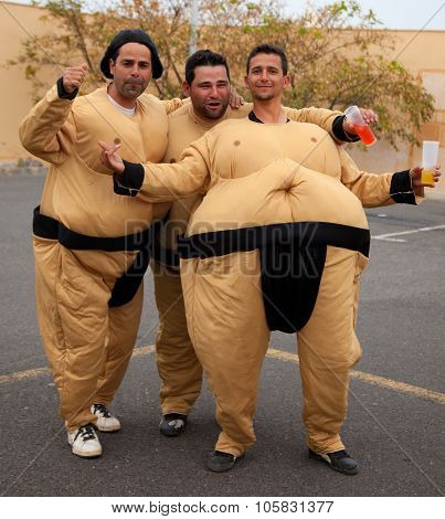 Corralejo - March 17: Dressed-up Participants, Sumo Wrestlers