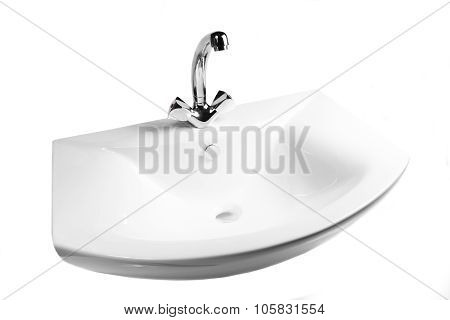 the Washbasin with tap isolated on  a white background
