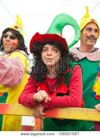 Corralejo - March 17: Dressed-up Participants On A Carnival Float At Grand Carnival Parade, March 17