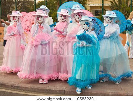 Corralejo - March 17: Participants In Venetian-style Costumes At The Assembly Point For Grand Carniv
