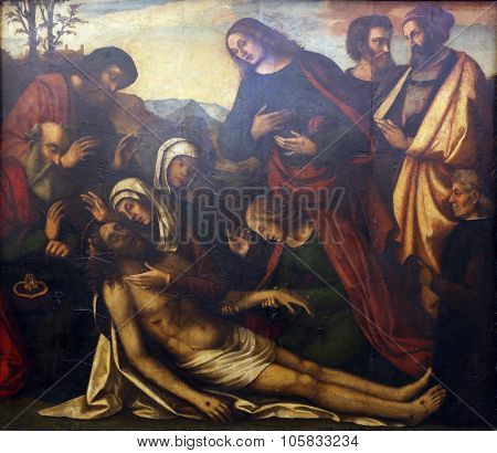 ZAGREB, CROATIA - DECEMBER 08: Benedetto Coda: Lamentation of Christ, Old Masters Collection, Croatian Academy of Sciences, December 08, 2014 in Zagreb, Croatia