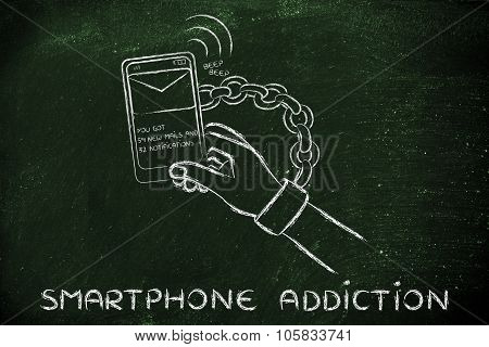 Hand Chained To A Mobile, illustration about smartphone addiction