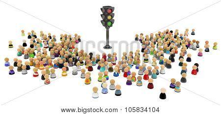 Cartoon Crowd, Traffic Lights
