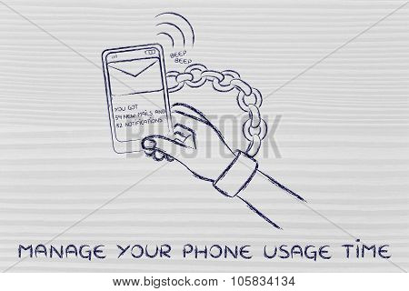Hand Chained To A Mobile, illustration about phone usage time