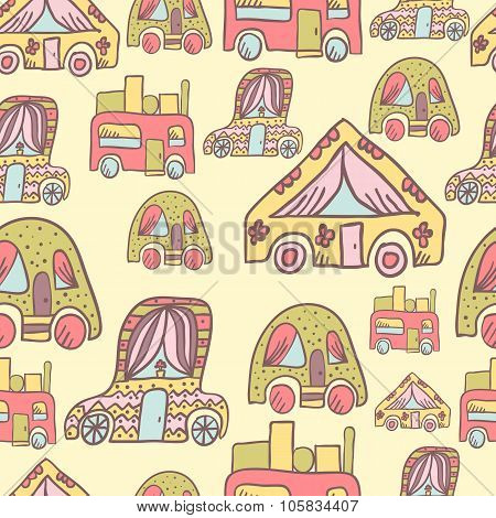 Seamless Pattern With Doodle Recreational Vechicles-4