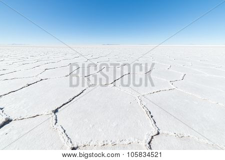 Hexagonal Shapes On The Uyuni Salt Flat, Bolivia