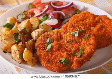Delicious Dinner: Wiener Schnitzel, Fresh Salad And Fried Potatoes