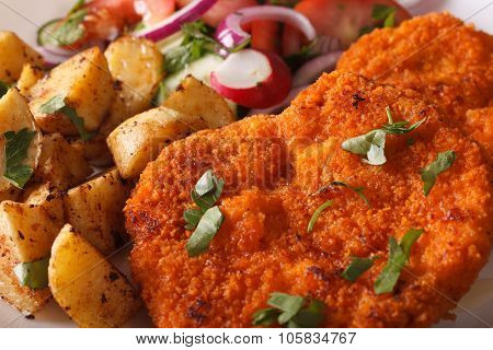 Wiener Schnitzel, Salad And Fried Potatoes Close-up. Horizontal