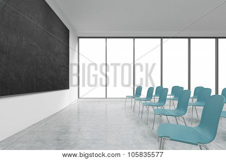 A Classroom Or Presentation Room In A Modern University Or Fancy Office. Blue Chairs, Panoramic Wind