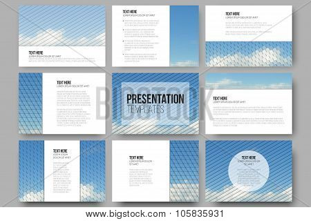 Set of 9 templates for presentation slides. Blue cloudy sky. Abstract multicolored backgrounds. Natu