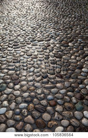 Natural Round Stone Floor Texture For Background