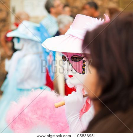 Corralejo - March 17: Participants In Venetian-style Costumes At Grand Carnival Parade, March 17, 20