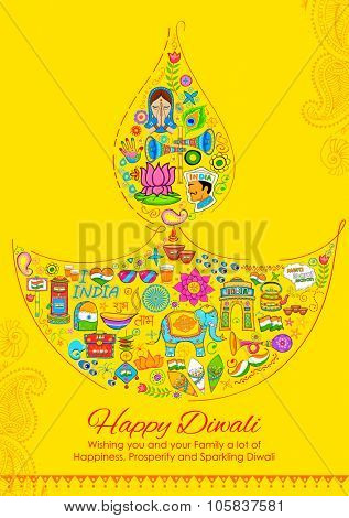 illustration of Happy Diwali background with India related things in diya shape