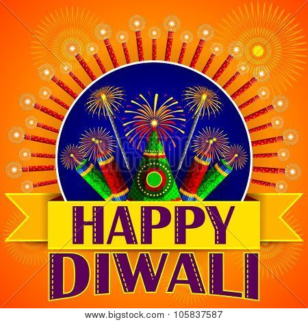 illustration of Happy Diwali background with colorful firecracker