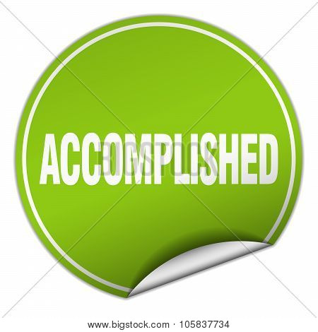 Accomplished Round Green Sticker Isolated On White