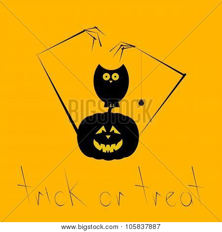 Halloween Card With Creepy Pumpkin And Owl