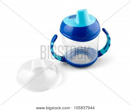 Transparent Sip Cup - Nipple - Pacifier Botle For Water Or Milk Isolated On White With Path