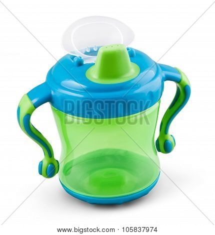 Transparent Sip Cup - Nipple - Pacifier Botle For Water Or Milk Isolated On White