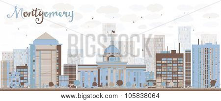Abstract Montgomery Skyline with Color Building. Alabama. Business travel and tourism concept with modern buildings. Image for presentation, banner, placard and web site.